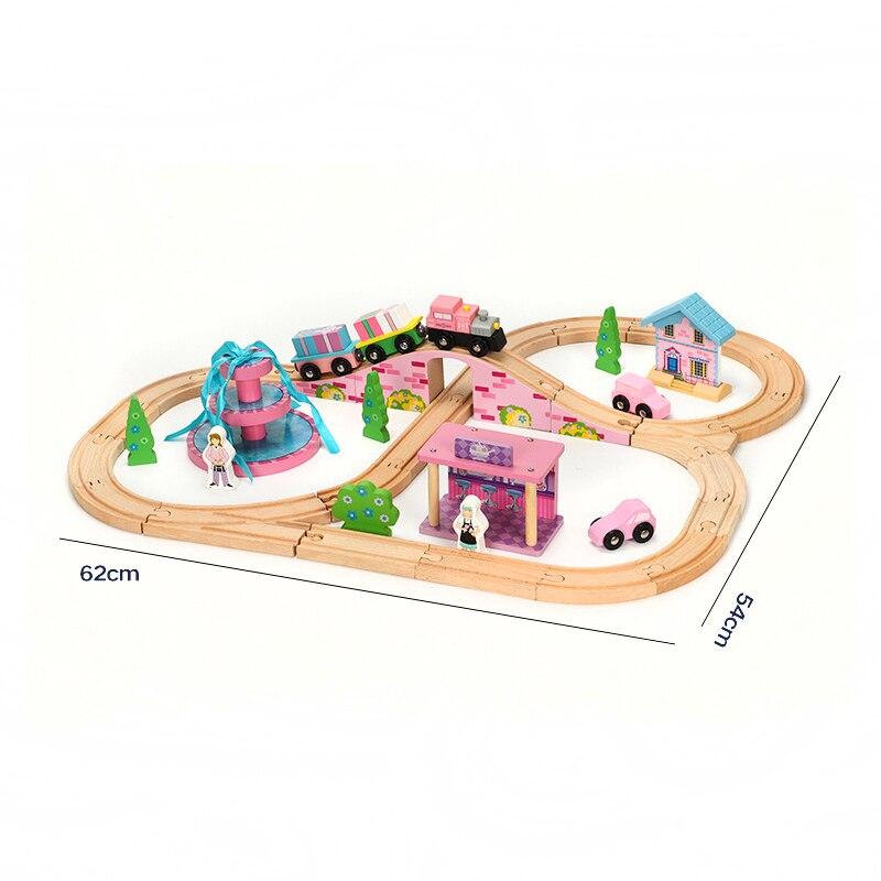 Train jeu scène enfants Train piste jouets enfants assemblé Puzzle garçons et filles Train jouets compatible Brio piste en bois