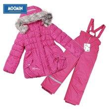 Moomin 2016 filles d'hiver habineige rose chaud costume manteaux À Capuchon Manches Bouffantes filles ensemble d'hiver à Glissière coton veste