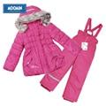 Moomin 2016 meninas inverno snowsuit rosa conjunto terno quente com capuz outwear meninas manga sopro de inverno jaqueta com zíper de algodão