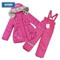 Moomin 2016 niñas de invierno traje para la nieve rosa caliente outwear chaqueta con capucha conjunto de invierno niñas chaqueta con cremallera de algodón de manga puff