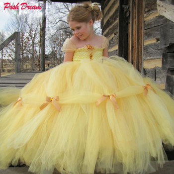 POSH DREAM Beauty and The Beast Belle Princess Girls Cosplay Costume Yellow Gold Children Tutu Dresses
