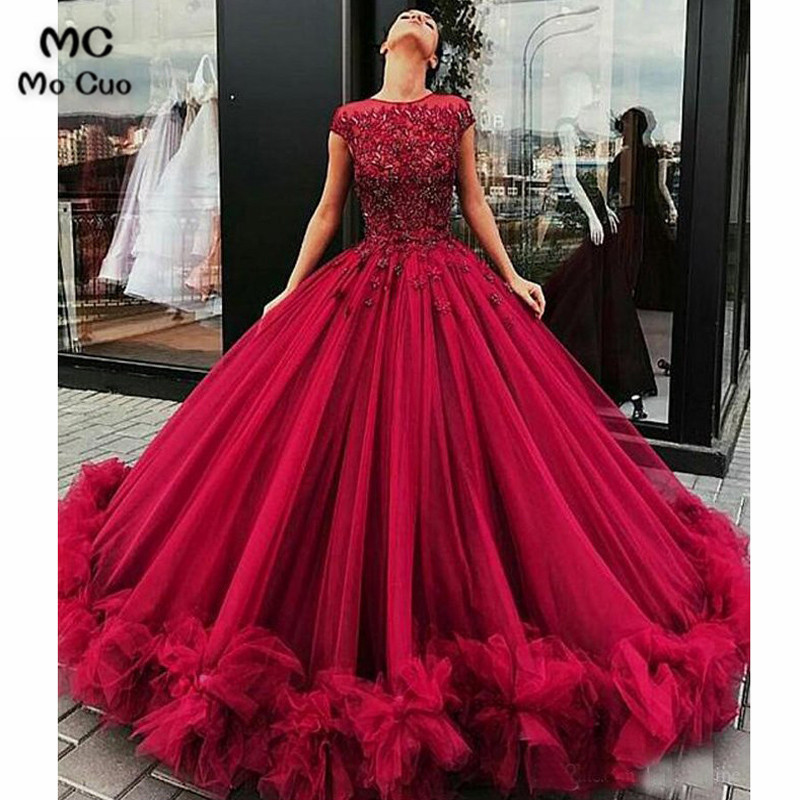 Amazing 2019 Ball Gown Prom Dress With Beaded Puffy Tulle Cap Sleeves Vestido De Festa Long Burgundy Prom Dresses Custom Made