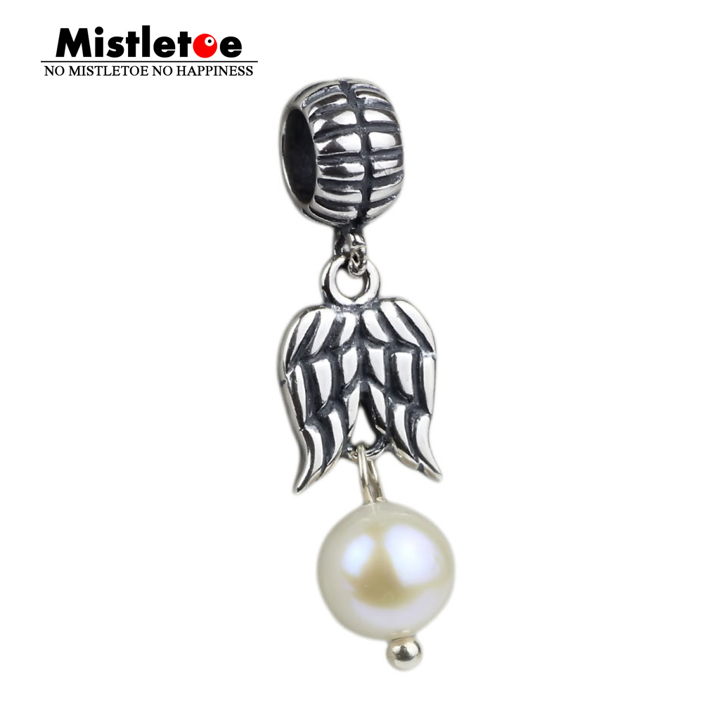 Authentic 925 Sterling Silver Guardian angel, white pearl Dangle Charms Bead Fit European Bracelets Jewelry