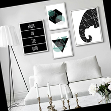 Nordic Decorative Canvas Painting Flamingo Elephant Butterfly And Geometric Shapes Abstract Animals Pictures For Bedroom Office