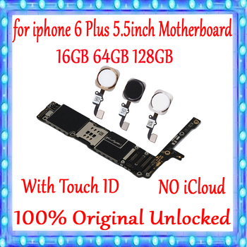 For iPhone 6 Plus 5.5 inch Motherboard Factory unlocked Mainboard With/without Touch ID for iphone 6 Plus MB Plate 100% Original