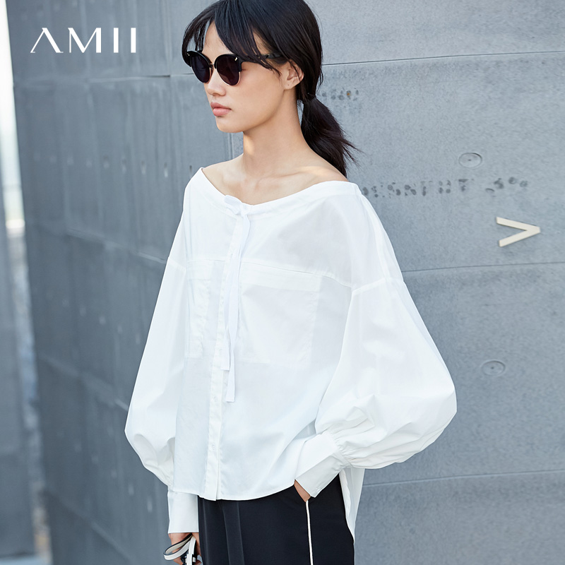 Amii Minimalist Women 2019 Spring Office Lady   Blouse   Off Shoulder Lantern Sleeve Straps Female   Blouses     Shirts