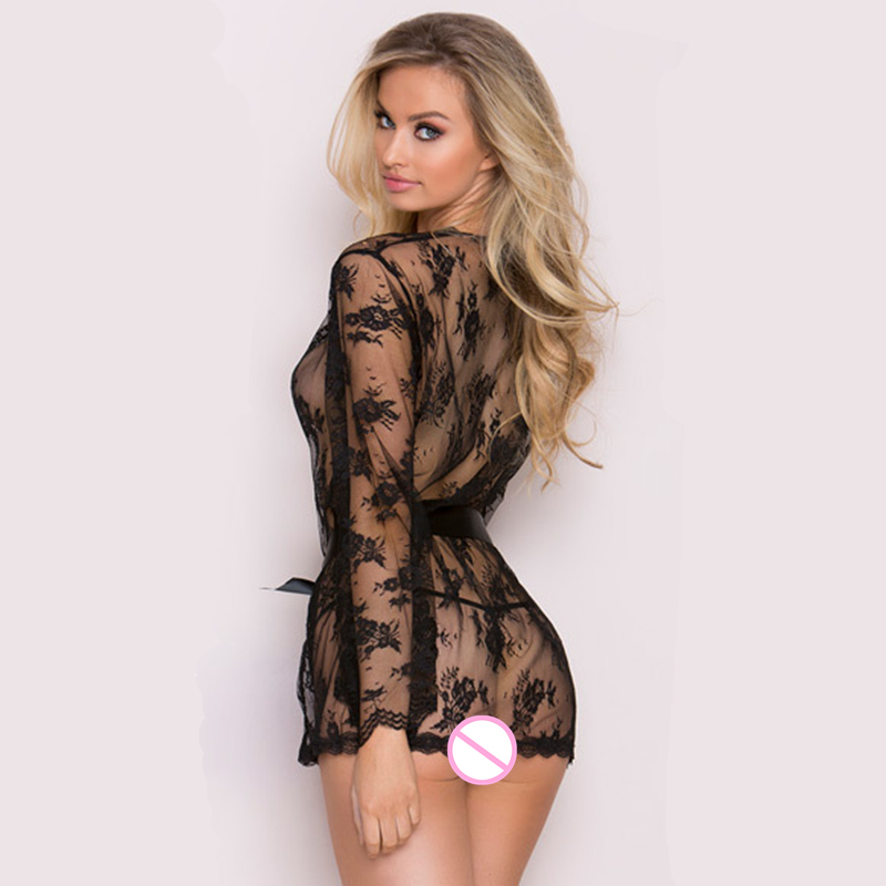 bf989796121dd Women Ladies Floral Silk Lace Babydoll Nightie G String Pant Set Long  Sleeve Nightgown Sleepwear Nightdress -in Nightgowns & Sleepshirts from  Underwear ...
