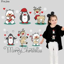 Prajña Cartoon Kerst Patches Ijzer Op Transfers Penguin Witte Beer Elanden Rode Patches Kerst Sok Stickers Voor Kleding Logo(China)