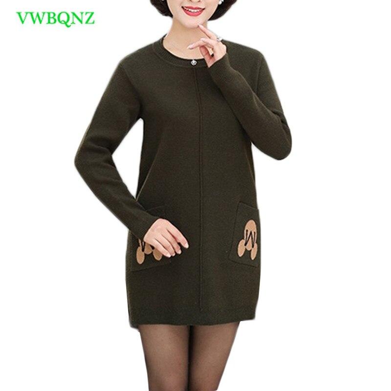 Automne hiver pull pull femmes d'âge moyen lâche longue tricot chemise de fond femme grande taille col rond chandails 4XL A875