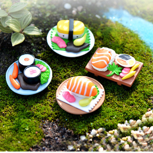 4 Pieces Creative Micro Fairy Garden Figurines Mini Sushi Platter  Miniatures/Terrarium Decor Food DIY