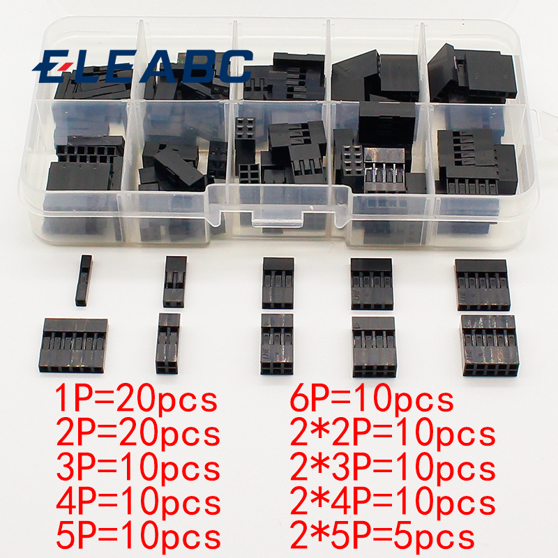 115 pces dupont ajusta o jogo com caixa 1p/2p/3p/4p/5p/6p/2*2/2*3/2*4/ 2 * 5pin que abriga o terminal plástico do escudo conjunto de conector de fio em ponte