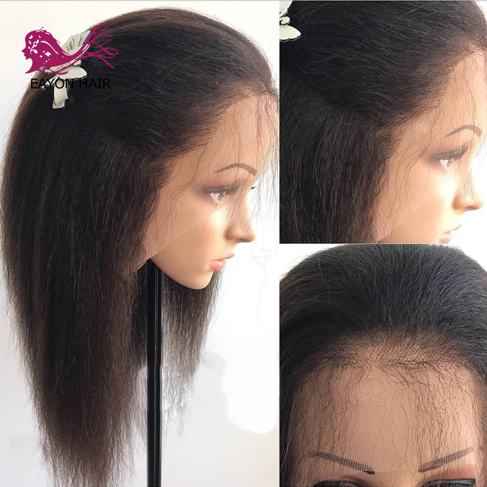EAYON Full Lace Human Hair Wigs With Baby Hair Kinky Straight Brazilian Remy Hair Wigs For