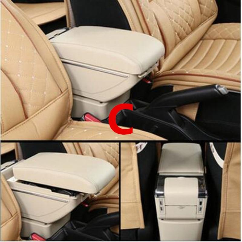 Для Volkswagen Polo подлокотник коробка Polo V Универсальный 2009- Автомобильная центральная консоль Модификация аксессуары двойной приподнятый с USB - Название цвета: C style Beige