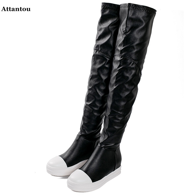 все цены на 2017 new flat bottom stovepipe elastic boots woman shoes over the knee high boots long tube high tube female boots thin sexy