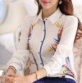 Women Spring Summer Long Sleeve Chiffon Shirt Blouses 2015 New Fashion Floral Print Plus Size White Tops Shirt  camisetas blusa