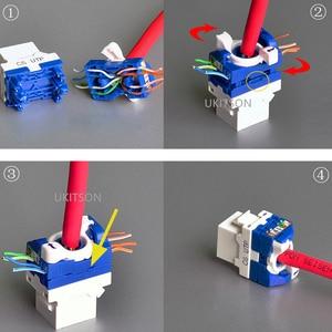 "Image 5 - 4 יציאות חתול 6 RJ45 מחשב Ethernet מחבר לוח מערבולת חוט C6 UTP אינטרנט לוחית 86x86 מ""מ"