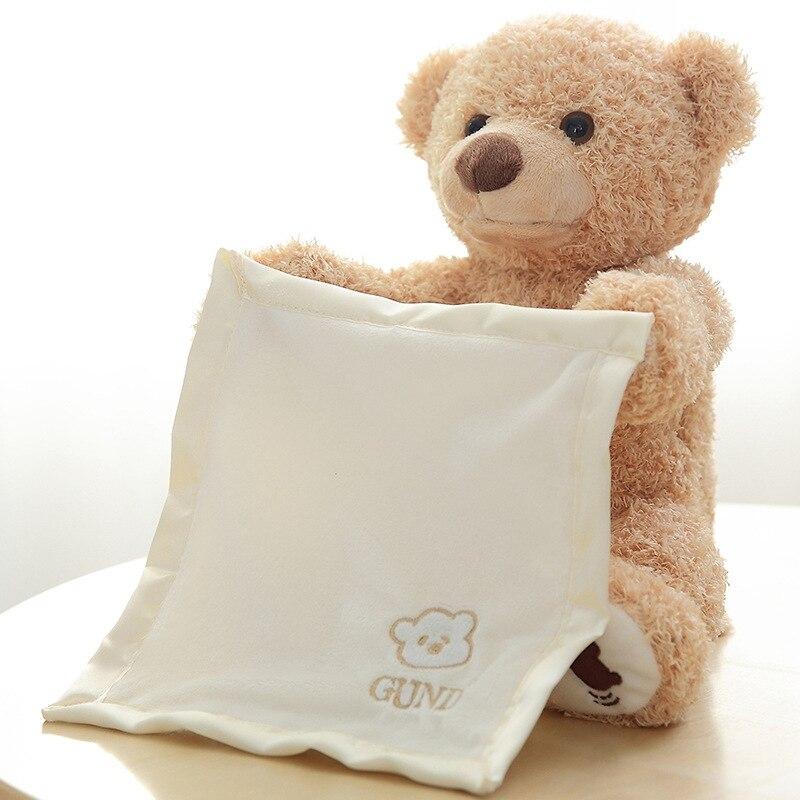 30 centímetros Boo Espiada Falando Ursinho de Pelúcia Boneca Bichos de pelúcia Urso Tímido Esconder Buscar Musical Play Toy Presente para crianças Dos Miúdos Amigo