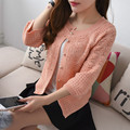 36 new spring women  shirt hollowed out seven point sleeve five button F1082 knit cardigan