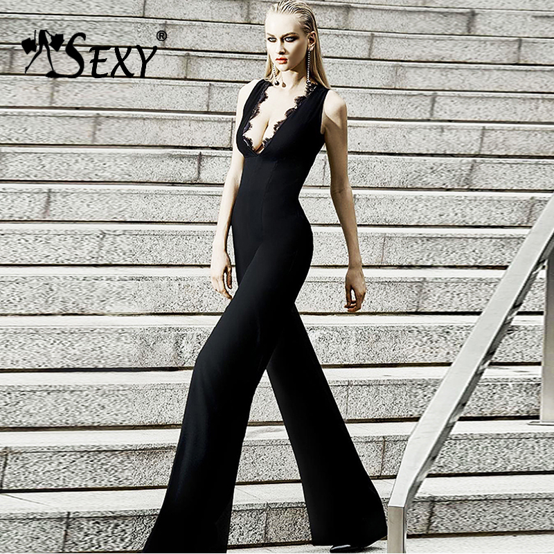 Gosexy 2019 New Fashion Solid Black Women Bandage Jumpsuits Full Length Women Bodysuits Sexy Deep V