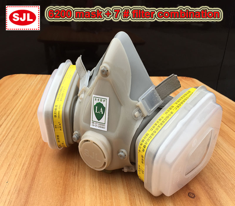 SJL 6200 A7 respirator gas mask 7 sets Modular protective mask against Acid gas Hydrogen sulfide respirator mask 6200 n95 double gas mask protection filter chemical respirator mask