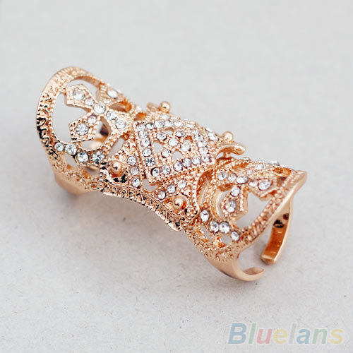 2016 Fashion Punk Cool Western Style Rhinestone Joint Finger Cross Ring Jewelry 2 Colors ARUC