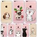 Para iphone6 case lindo gatos hamster animales case para iphone6 6 s 6 más 5 se 4 4S 5S cubierta de silicona contraportada case para iphone5s