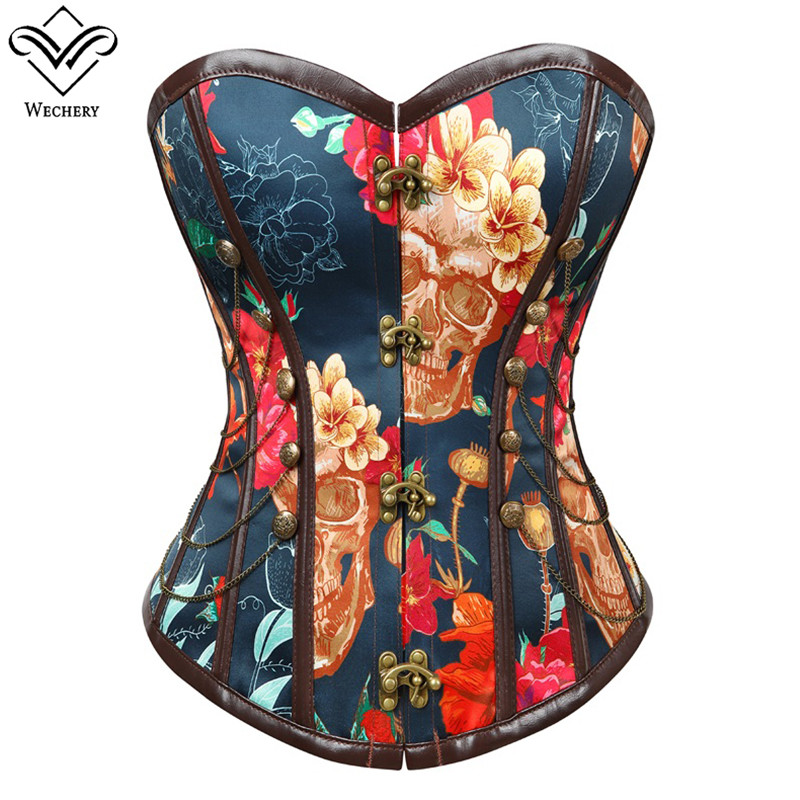 Wechery Flower Printed   Corset   Vintage   Bustier   Tops Chains Decorated Bone Corselet Party Shows Cosplay Costume