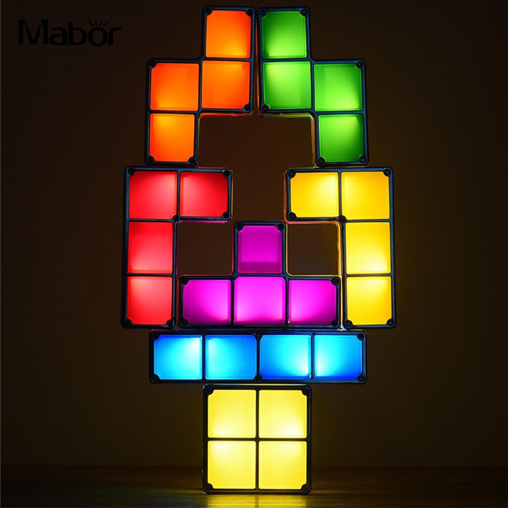 Night Light Night Lamp DIY Stackable Creative Constructible LED Light Energy Saving Tetris Block Colorful
