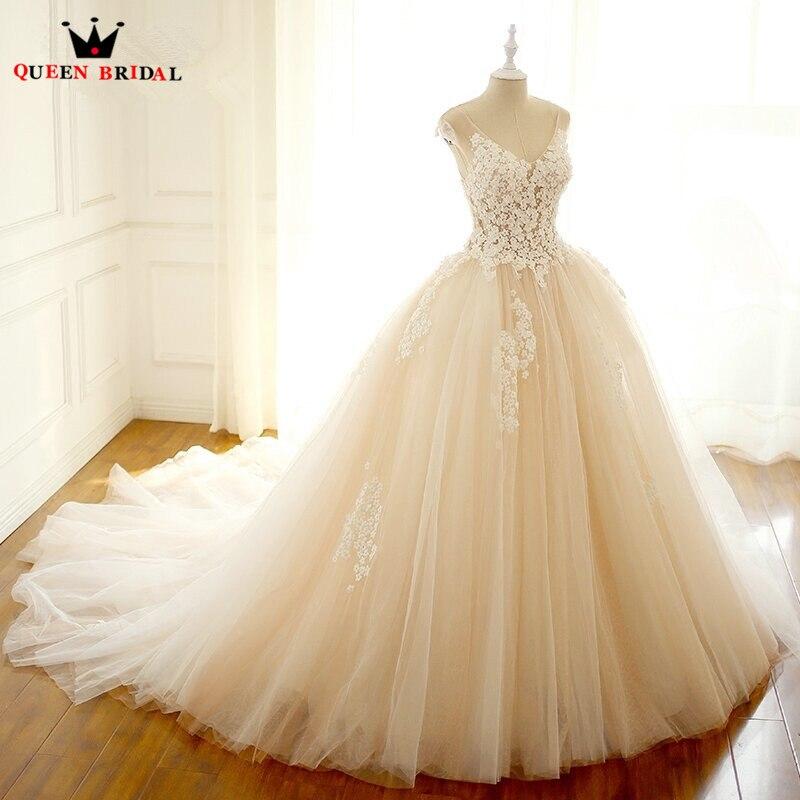 Custom Size Vintage Romantic Wedding Dresses Princess V neck Lace Flowers Vestidos De Noiva Wedding Gown