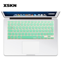 XSKN Top Quality Mint Green Spanish Silicone Keyboard Skin Cover For Macbook Air Pro 13 15