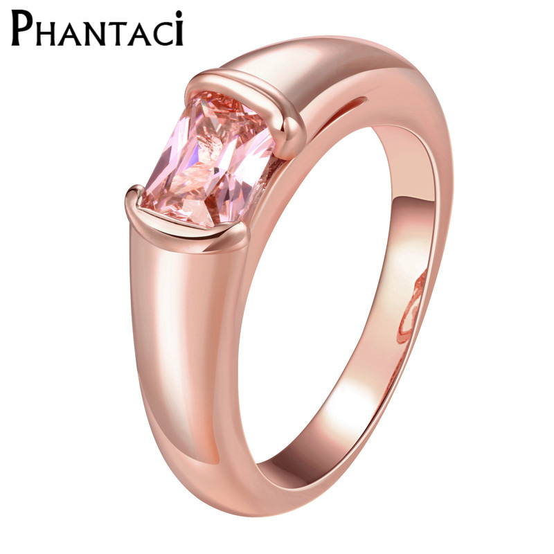 Female Luxury Smooth Ring With Pink CZ Crystal Rose Gold Color Royal Rhinestone Glazed Wedding Finger Rings For Women Gifts