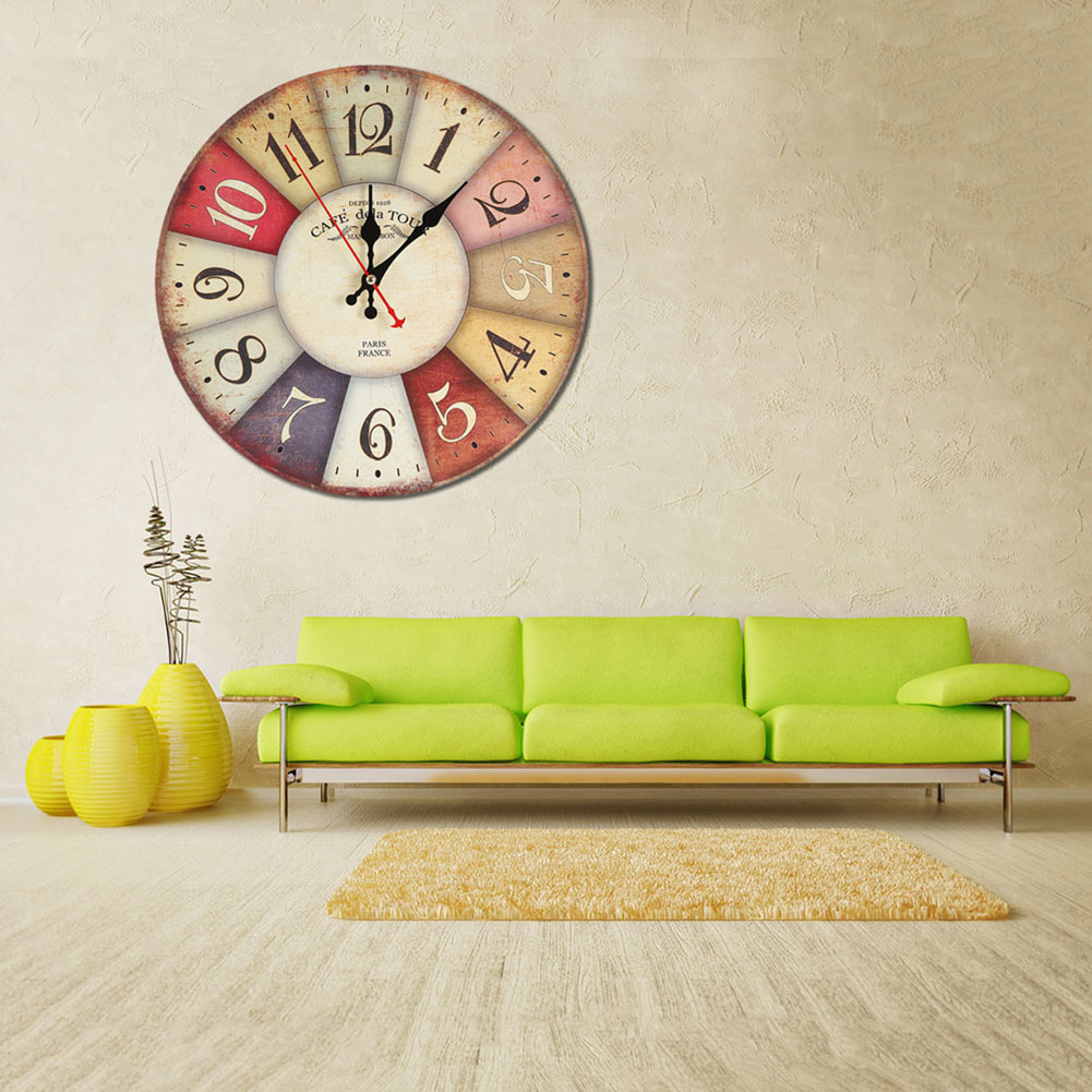 modern wooden wall clock rustic shabby chic home office decoration art large watch horloge murale. Black Bedroom Furniture Sets. Home Design Ideas