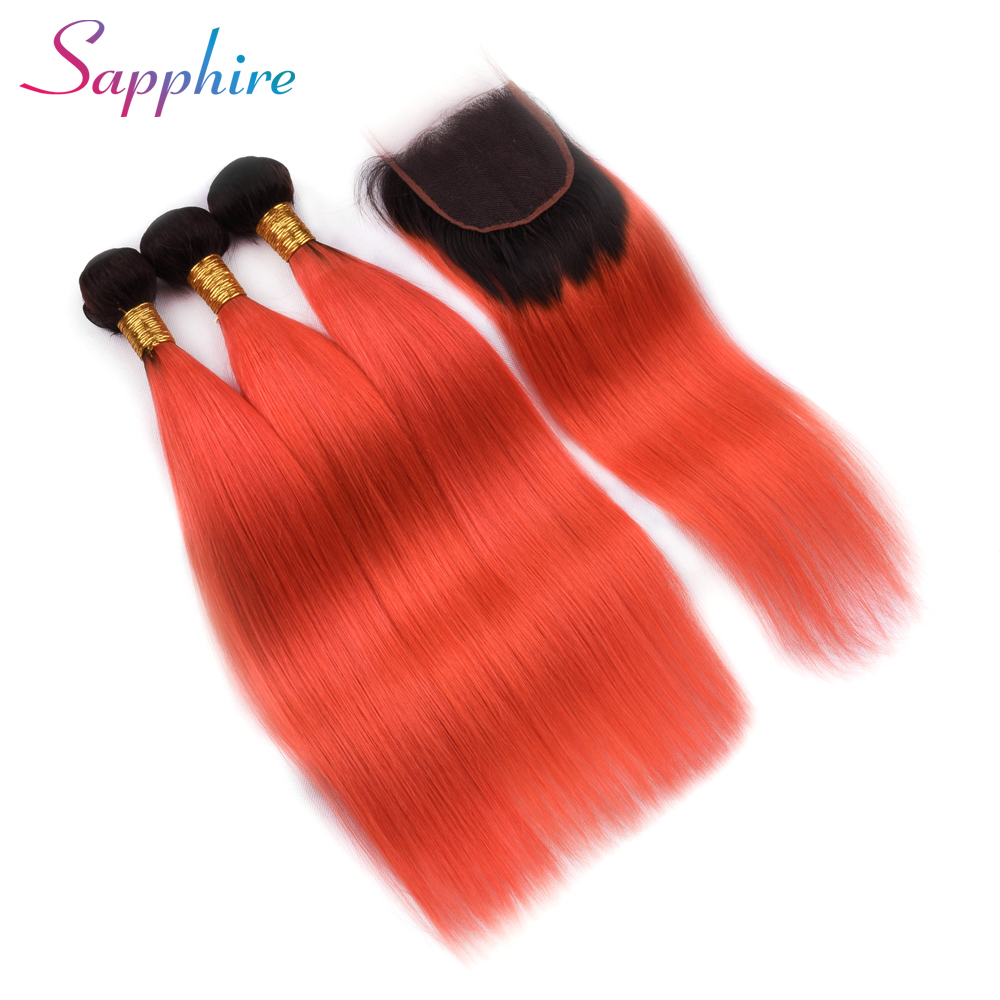 Sapphire Ombre Bundles With Closure Professional Two Tone Brazilian Human Hair Straight Hair 3 Bundles Pack With Closure