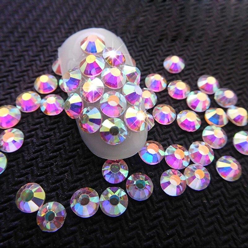 1 Bag 1440pcs Crystal AB Glitter 3D Nail Rhinestone Non Hotfix Flatback Glass Stones DIY Silver Nail Art Decorations SS3 SS12 in Rhinestones Decorations from Beauty Health