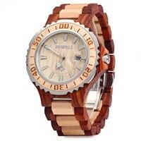 BEWELL Luxury Wooden Men Quartz Watch Waterproof Luminous Hands Calendar Sandalwood relogio masculino Male Dress Watches 2017