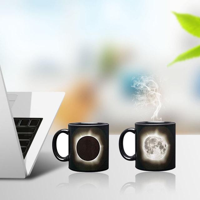 Creative Sun & Moon Magic Mug Positive Energy Color Changing Milk Cup Ceramic Discoloration Coffee Tea Milk Mugs Novelty Gifts 4