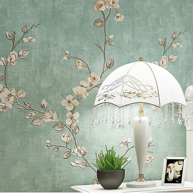 3D Non-Woven Self-Adhesive Wallpaper Living Room Bedding Room Pastoral Flower Retro Wall Sticker European Style Luxury Wallpaper