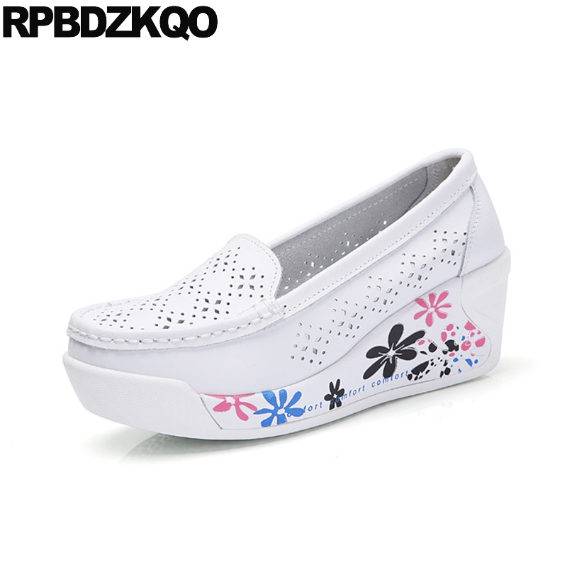 Spring Autumn Thick Sole Flats Nurse Floral Print White Women Elevator Wedge Platform Ch ...