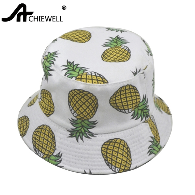 ACHIEWELL Bucket Hat Pineapple Fruit White Hat 100% Cotton for Women Men  Summer Spring Beach Hats 0fd08937e99