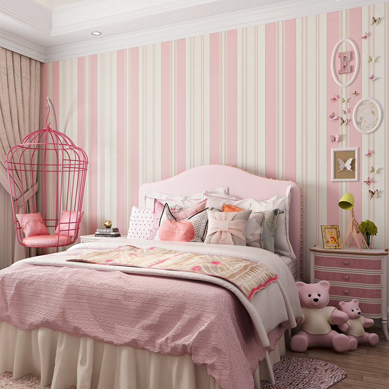 0 53x10 Meter Pink Striped Princess Room Kids Wallpaper Cute Bedroom Livingroom Non Woven In Wallpapers From Home