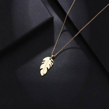 Stainless Steel Necklace For Women Man Lover's Feather Gold And Silver Color Pendant Necklace Engagement Jewelry Fashion Jewelry