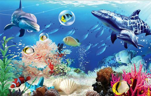 New Large Wallpaper Custom Wallpaper Blue Ocean Shark Undersea World