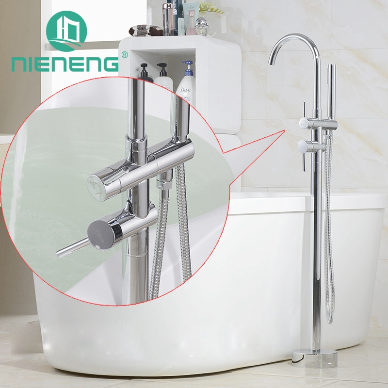Nieneng Brass Freestanding Bathtub Faucet Floor Mounted Bath Tub Filler Faucets With Hand Shower Head Bronze Faucet ICD60634 freestanding houses