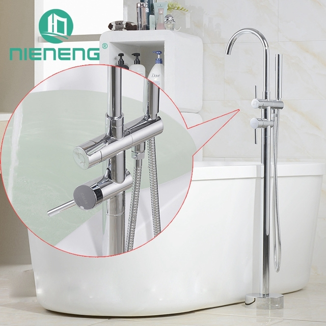 Nieneng Brass Freestanding Bathtub Faucet Floor Mounted Bath Tub Filler  Faucets With Hand Shower Head Bronze