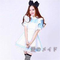 Alice in Wonderland Costume Lolita Dress Maid Cosplay Fantasia Carnival Halloween Costumes for Adults Kids Free Shipping