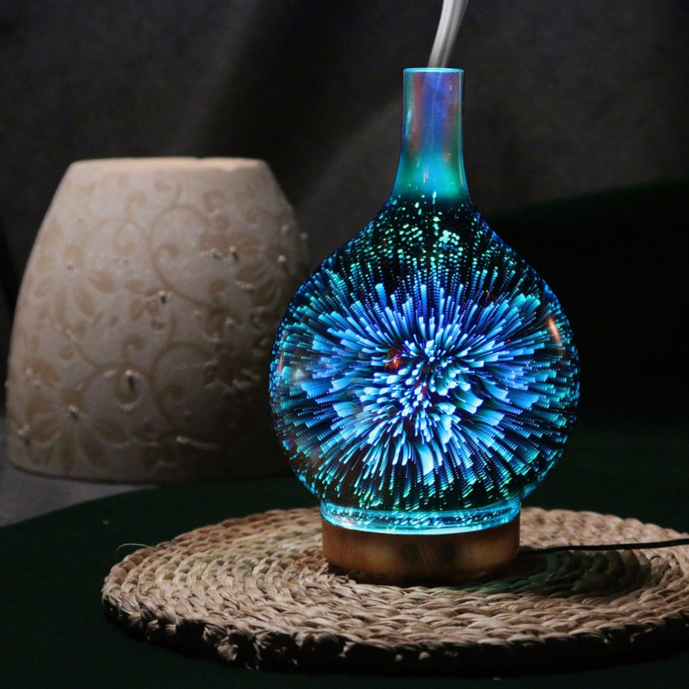 3D Fireworks LED Night Light Air Humidifier Glass Vase Shape Aroma Essential Oil Diffuser Mist Maker Ultrasonic Humidifier Gift ivyshion 1pc arotrerapy humidifier creative heart fireworks led night light air humidifier seven colors aroma diffuser for home