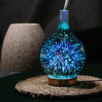 3D Fireworks LED Night Light Air Humidifier Glass Vase Shape Aroma Essential Oil Diffuser Mist Maker Ultrasonic Humidifier Gift