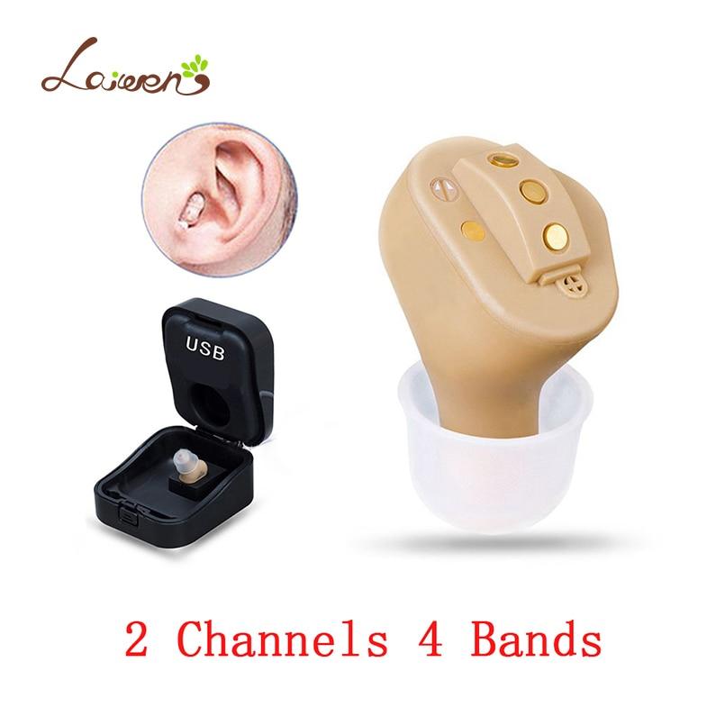 Güzellik ve Sağlık'ten Kulak Bakımı'de C51 Şarj Edilebilir Görünmez Tam Kulak Dijital Işitme cihazı 2 Kanal 4 Bantları USB Şarj Edilebilir CIC Işitme cihazları'da  Grup 1