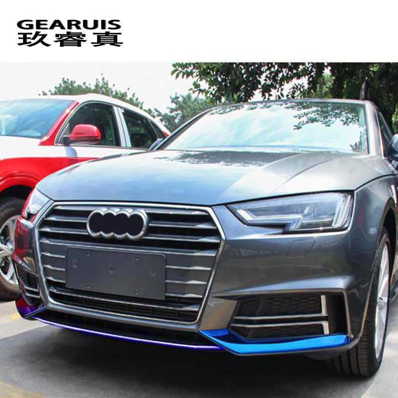 Car styling For Audi A4 B9 2017-2018 Front Bumper Lip Lower Bumper Frames Car Head decoration Covers Stickers Auto accessories 2 5m car rubber carbon stickers for skoda fabia octavia front lip bumper decoration for vw auto exterior stickers for toyota