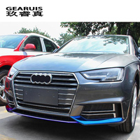 Car styling For Audi A4 B9 2017 2018 Front Bumper Lip Lower Bumper Frames Car Head decoration Covers Stickers Auto accessories